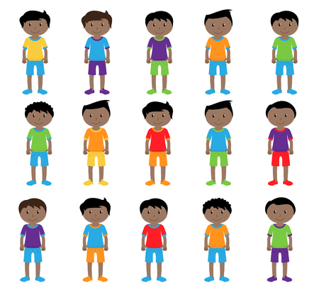 Collection of Cute and Ethnically Diverse Male Students and Children. Çizim