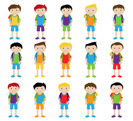 studious: Collection of Cute and Ethnically Diverse Male Students and Children Illustration