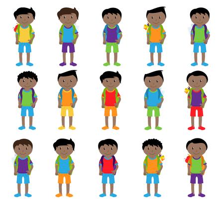 かわいいと民族的に多様の男子学生と子供たちのコレクション  イラスト・ベクター素材