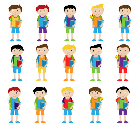 Collection of Cute and Ethnically Diverse Male Students and Children Illustration