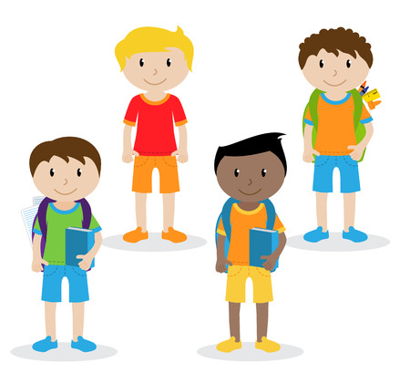 Collection of Cute and Ethnically Diverse Male Students and Children Stock Illustratie