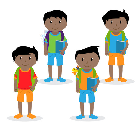 Collection of Cute and Ethnically Diverse Male Students and Children. Ilustração
