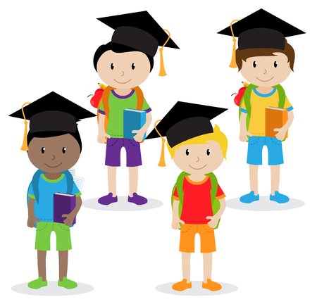 Collection of Cute and Ethnically Diverse Male Students and Children. Illustration