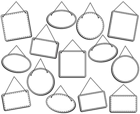 Doodle Style Hanging Signs or Frames in Vector Format Illustration