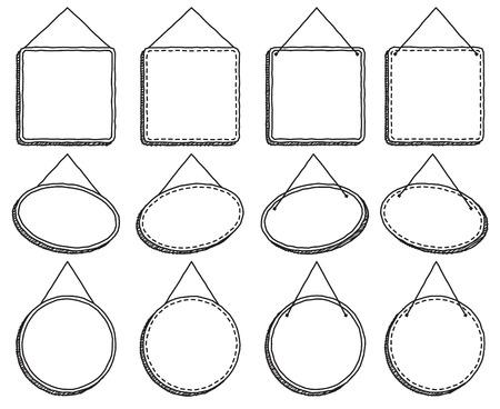 표지판 또는 프레임을 벡터 형식으로 고정하는 낙서 스타일 일러스트