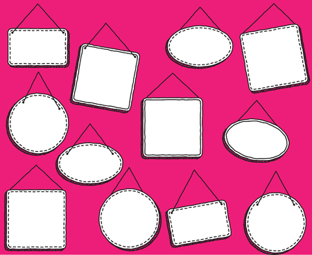 hung: Doodle Style Hanging Signs or Frames in Vector Format Illustration