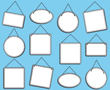 Doodle Style Hanging Signs or Frames in Vector Format Ilustração
