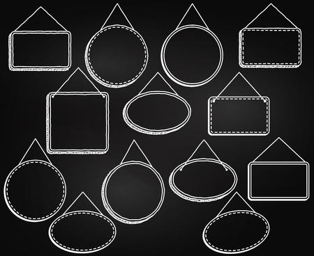hangers: Chalkboard Style Hanging Frames or Hanging Signs in Vector Format Illustration