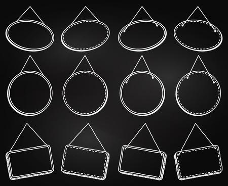 벡터 형식의 프레임 또는 매달린 표지판을 매달아 칠판 스타일 스톡 콘텐츠 - 73851670