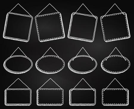프레임 식 매달려 또는 벡터 형식의 표지판 매달아 칠판 스타일 일러스트