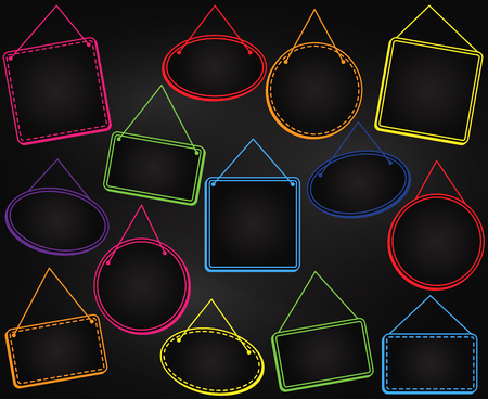 벡터 형식의 프레임 또는 매달린 표지판을 매달아 칠판 스타일
