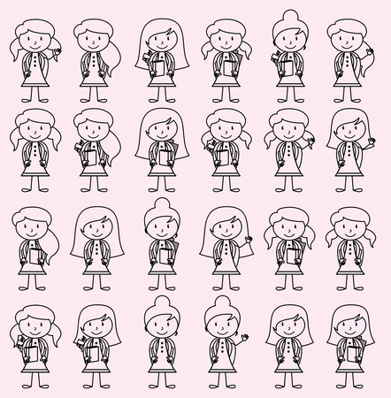 studious: Collection of Cute and Diverse Vector Format Stick Figure Female Students with Backpacks