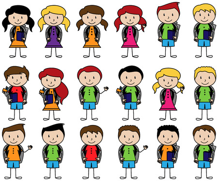 Collection of Cute Stick Figure Students in Vector Format