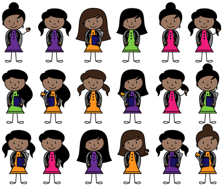 Collection of African American Students in Vector Format Ilustracja
