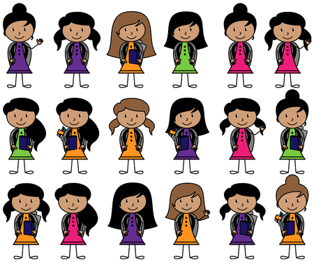 Collection of Hispanic or Latino Students in Vector Format 版權商用圖片 - 75404141