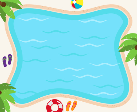 Pool Background in Vector Format with Palm Trees, Flip Flops and Ball