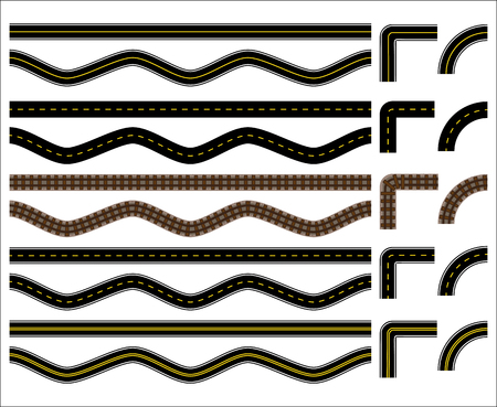 Vector Collection of Various Roads, Paved Roads and Tracks with Curves and Corners Ilustracja