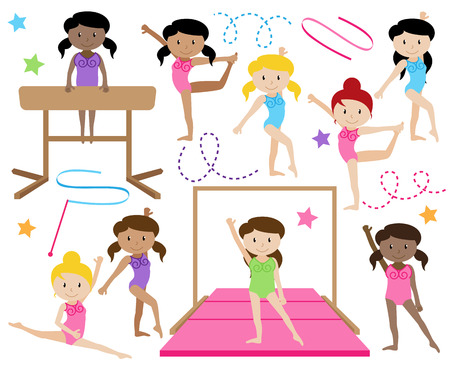 Vector Collection of Cute Female Gymnasts or Dancers of Different Ethnicities Çizim