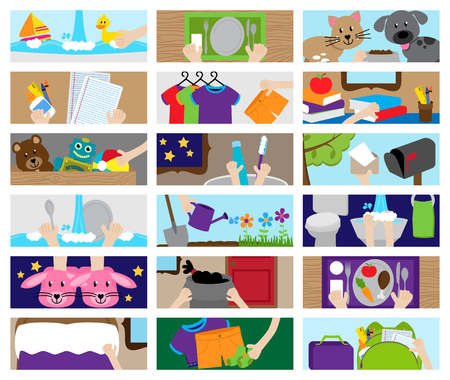 Vector Collection of Chore Chart or Job Chart Activities for Kids Çizim