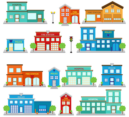 Colorful fire station illustration. Ilustracja