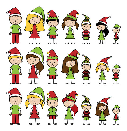 Collection of Christmas or Holiday Style Stick Figures