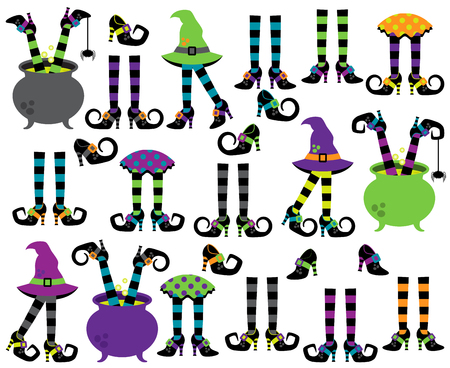 Cute Vector Collection of Witches` Feet, Legs and Shoes