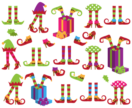 Cute Vector Collection of Christmas Holiday Elf Feet, Legs and Shoes Illusztráció
