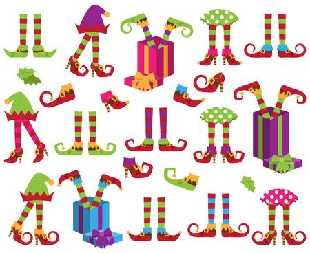 Kolekcja wektor ładny Boże Narodzenie wakacje Elf stóp, nóg i butów Ilustracje wektorowe