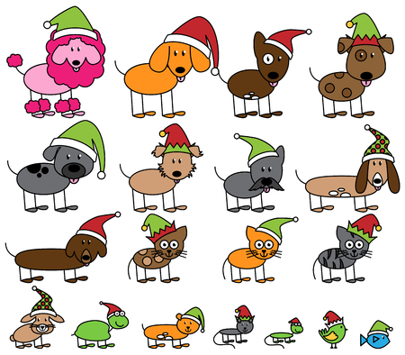 Vector Collection of Christmas or Holiday Themed Stick Figure Pets and Animals
