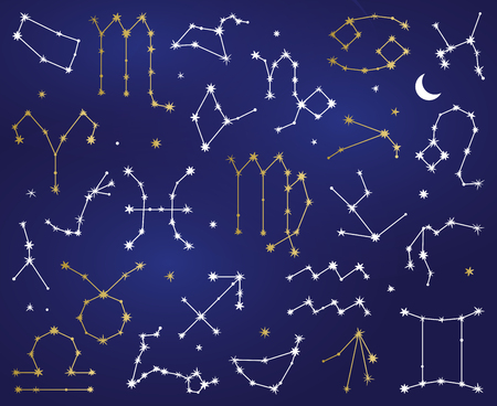 Vector Collection of Zodiac Sign Constellations  イラスト・ベクター素材