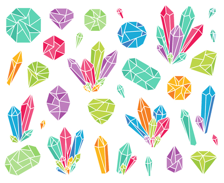 Vector Collection of Beautiful Crystals and Gemstones on white background. Ilustracja