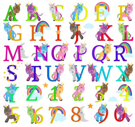 Vector Collection of Cute Unicorn Themed Alphabet Letters