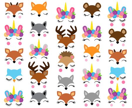 Mezcla y combina caras de animales: crea caras de animales extravagantes mezclando y combinando cabezas, ojos y accesorios. Ilustración de vector