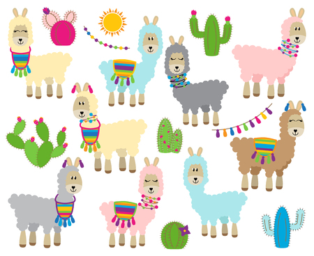 Cute Vector Collection of Llamas, Vicunas and Alpacas Ilustracja