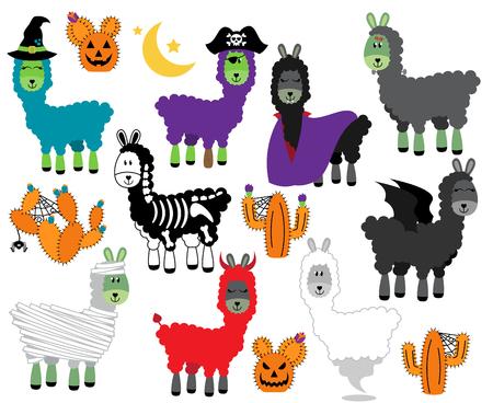 Vector Collection of Halloween Themed Llamas