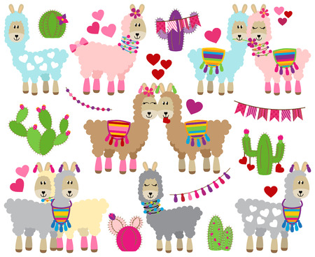 Vector Collection of Cute Valentines Day Themed Llamas Ilustracja