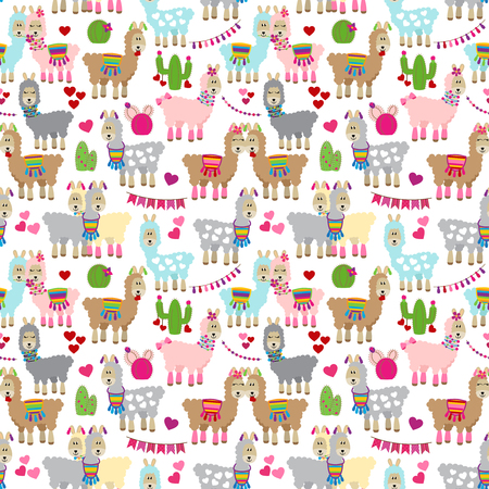 Valentines Day Llamas Seamless Vector Background