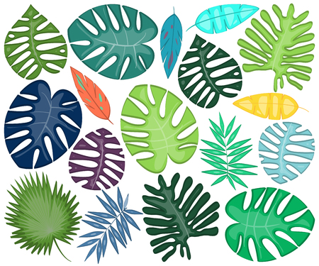 Vector Collection of Bright and Bold Tropical Leaves Banque d'images - 117180841