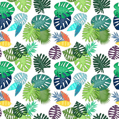Tropical Leaf Vector Seamless Pattern or Background Banque d'images - 117180849