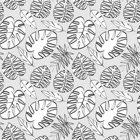 Tropical Leaf Vector Seamless Pattern or Background Banque d'images - 117180850