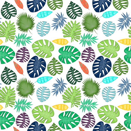 Tropical Leaf Vector Seamless Pattern or Background Banque d'images - 117180854