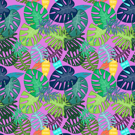 Tropical Leaf Vector Seamless Pattern or Background Banque d'images - 117180855