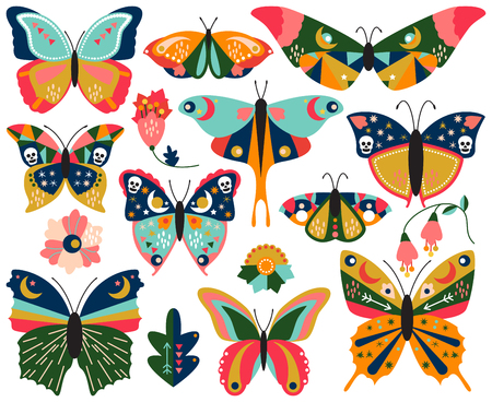Vector Collection of Bohemian Stylized Butterflies and Moths
