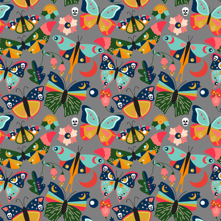 Seamless, Tileable Wallpaper Pattern with Boho Style Butterflies, Moths and Floral Elements Ilustracja