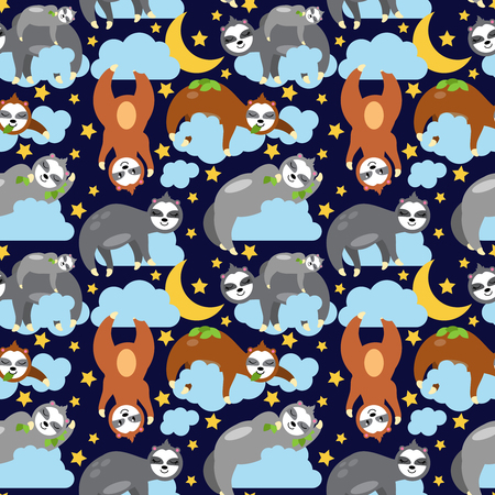 Seamless Vector Background with Sloths Sleeping on Clouds Ilustracja