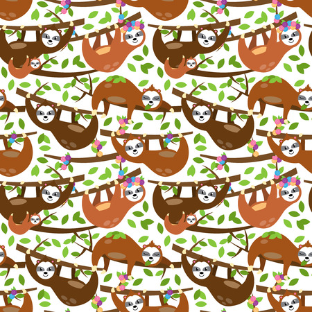 Seamless Vector Background with Sloths, Tree Branches and Leaves