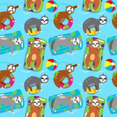 Seamless Vector Background with Sloths Floating in a Pool