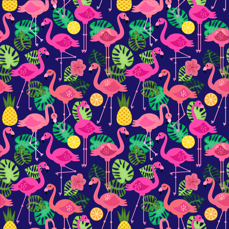 Seamless Vector Pattern with Flamingos and Other Summer Themed Elements