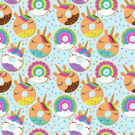 Seamless Vector Background with Unicorn Themed Donuts Vektoros illusztráció