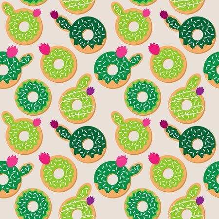 Seamless Vector Background with Cactus and Succulent Themed Donuts
